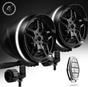 GoHawk AR4-Halo Black Waterproof Bluetooth ATV Speakers