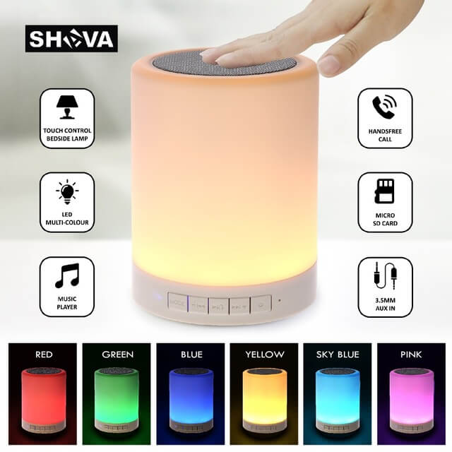 Night Light Bluetooth Speaker with Lights From Shava