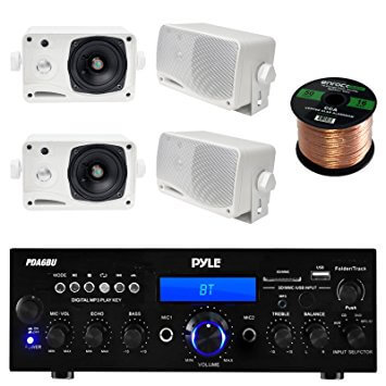 Pyle PDA6BU USB-SD-Card 200-Watt Bluetooth Stereo Amplifier Receiver With Outdoor Speaker