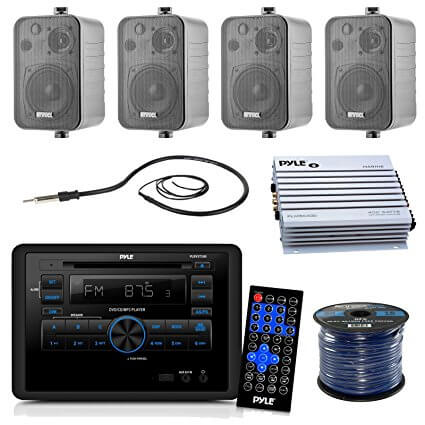 Pyle PLRVST300 Receiver Bundle With 4x Enrock 200-Watt Waterproof Stereo Box Speaker