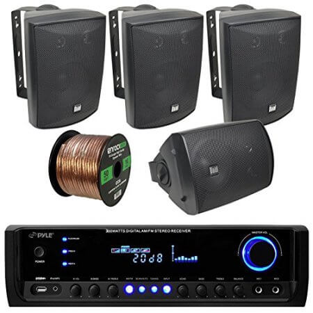 Pyle PT390BTU Stereo Receiver With Dual-Electronics LU53PB Outdoor Speaker Bundle