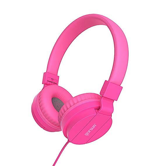 Gorsun Lightweight Pink Stereo Headphone for Kids