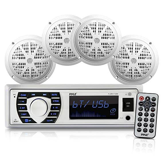 PYLE-PLMRKT38W Bluetooth Marine Receiver Stereo Speaker Radio Kit For Golf Cart Installation