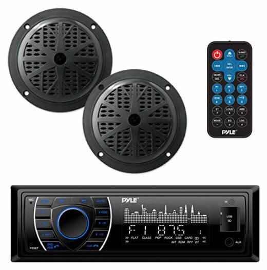 PYLE-PLMRKT46BK Headunit Receiver Speaker Kit For Golf Cart