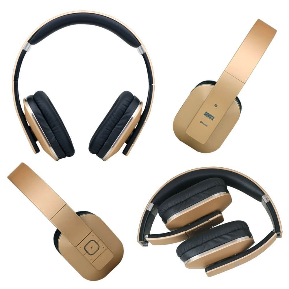 August EP650 Bluetooth Over Ear Wireless Stereo Gold Headphones