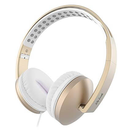 Jelly Comb Foldable Corded Gold Headphones with Microphone