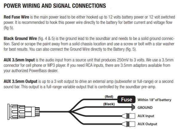 power wiring and signal connection details of powerbass xl-1000