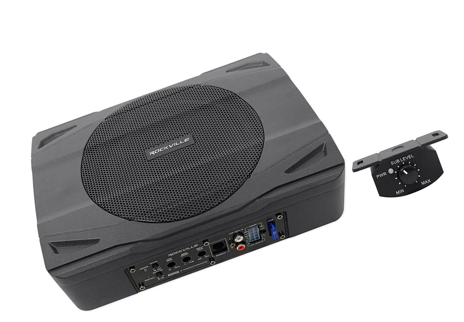 Rockville SS8P 400w 8 Inch Slim Under-Seat Active Powered Car Truck Subwoofer Sub